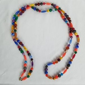"""Vintage 52"""" rainbow plastic beaded necklace"""